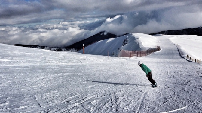 Snowboarding in Abruzzo mountains, Italy