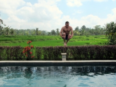 Jump in the swimming pool