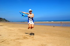 Jumping at Vega Beach in Asturias, Spain