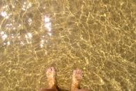 Clear waters of the ocean at Vega Beach in Asturias, Spain